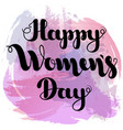 black lettering happy women s day on purple spot vector image vector image