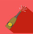 bottle of champagne icon flat style vector image vector image