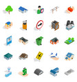buildings icons set isometric style vector image vector image