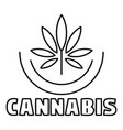 cannabis logo outline style vector image vector image