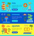 cartoon aquapark playground banner horizontal set vector image vector image