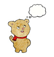 cartoon cute teddy bear with scarf with thought vector image vector image
