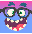 cartoon monster face wearing eyeglasses vector image vector image