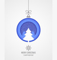 christmas card with merry xmas paper cut tree on vector image