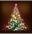 colorful christmas tree and glowing lights on a vector image