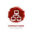 computer network icon - red watercolor circle vector image vector image