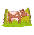 cow in nature cartoon vector image