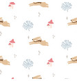 cute bunnies in woods seamless pattern vector image