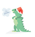Cute dino wish you to have a very merry christmas
