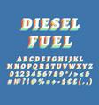 diesel fuel vintage 3d alphabet set vector image