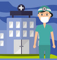 doctor uniform and mask staff professional vector image