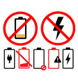 empty battery icon symbol set on white background vector image vector image