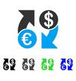 euro dollar exchange arrows flat icon vector image vector image