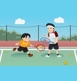 father son playing tennis vector image