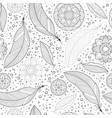 feather and doodle flowers seamless pattern vector image