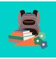 flat icon on stylish background book bag flowers vector image