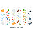 garbage sorting flat sort vector image vector image
