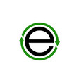 green circle arrow with the initial letter e vector image