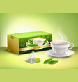 green tea packaging realistic design vector image vector image