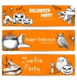 Halloween celebration banners with text vector image vector image