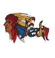 hand drawn profile native american chief vector image vector image