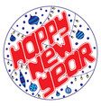 hand-drawn text for happy new year in a round vector image vector image