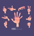 hand gestures in different positions set isolated vector image