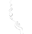 hand with cigarette vector image vector image