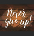 handwritten modern calligraphy quote never give up vector image