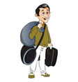 happy man with luggage vector image