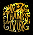 Happy thanksgiving gold icon logo or badge vector image