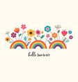 hello summer banner design with flowers vector image vector image