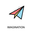 imagination icon and paper rocket on white vector image
