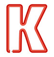 letter k plastic tube icon cartoon style vector image