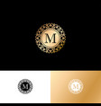 m gold letter monogram gold circle lace ornament vector image