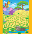 maze 16 with tropical animals vector image