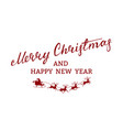 merry christmas flying red santa claus red vector image