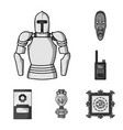 museum and gallery monochrome icons in set vector image