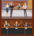 party in bar interior cartoon banners vector image vector image