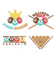 poolroom emblem set vector image vector image