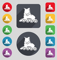 roller skate icon sign A set of 12 colored buttons vector image
