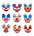 scary clown faces funster masks with makeup vector image
