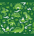 seamless pattern with cartoon dinosaurs vector image vector image
