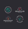 set of retro vintage night club billiard vector image