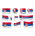 set serbia flags banners banners symbols flat vector image vector image