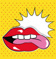 sexy female lips and tongue bubble speech pop art vector image