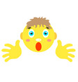 smiley boy with finger gesture with both hands vector image vector image