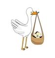 Stork with baby cartoon graphic design