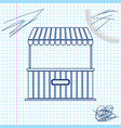street stall with awning and wooden rack line vector image