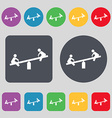 swing icon sign A set of 12 colored buttons Flat vector image